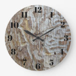 Distressed Wood Look Large Clock