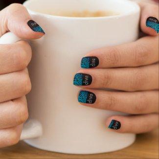 Diva Bling Turquoise cheetah grunge Minx Nail wrap
