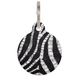 Diva Bling Zebra Print Black/White Pet Tag