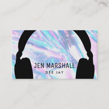 DJ headphones on faux holographic Business Card