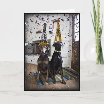 Doberman dog Happy New Year invitation or card