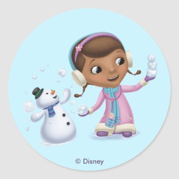 Doc McStuffins | Doc And Chilly Playing In  Snow Classic Round Sticker