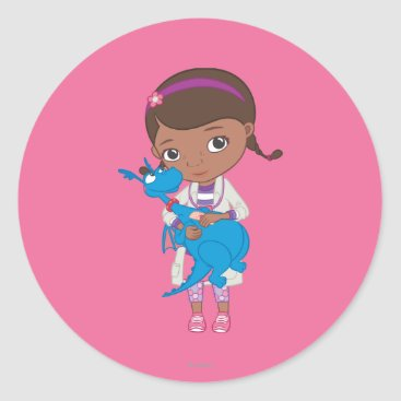 Doc McStuffins Holding  Stuffy Classic Round Sticker