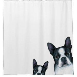 Dog 128 Boston Terrier Shower Curtain