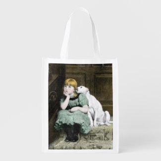 Dog Adoring Girl Grocery Bag