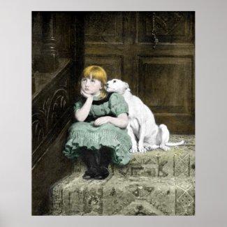 Dog Adoring Girl Poster