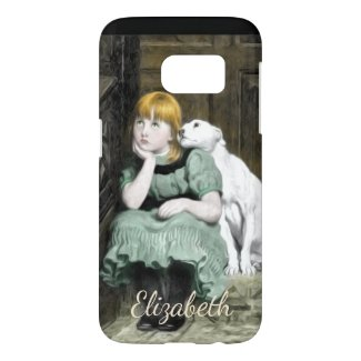 Dog Adoring Girl Victorian Painting Personalize Samsung Galaxy S7 Case