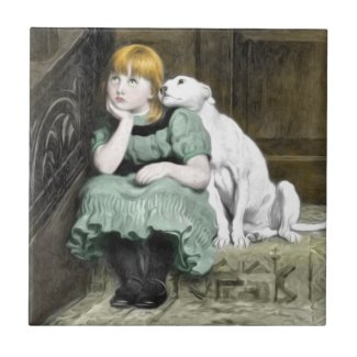 Dog Adoring Girl Victorian Painting Tile