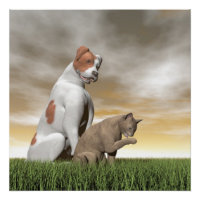 Dog and cat friendship - 3D render Poster