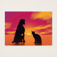 Dog and cat friendship at sunset business card