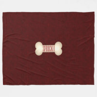 Dog Bone with Maroon Red and Dog's Name Fleece Blanket