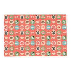 Dog Love on Coral Laminated Placemat