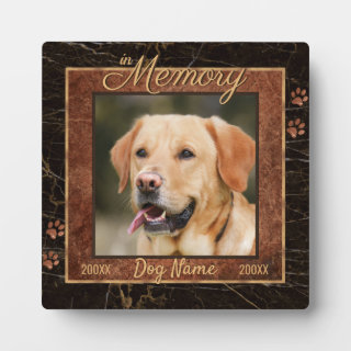 Dog Memory Marble Rustic Gold Square Keepsake Plaque