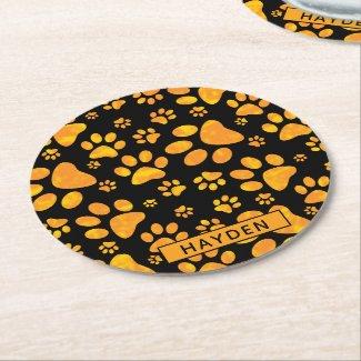 Dog Paw Print Pattern Orange Yellow Monogram Round Paper Coaster