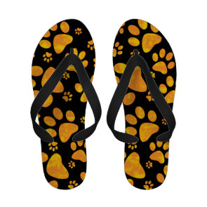 Dog Paw Print Pattern Orange Yellow Personalized Sandals