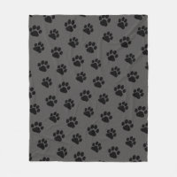 Dog Paw Prints Pattern Fleece Blanket