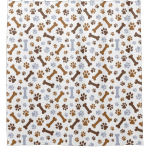 Dog Paw Prints Pattern Shower Curtain