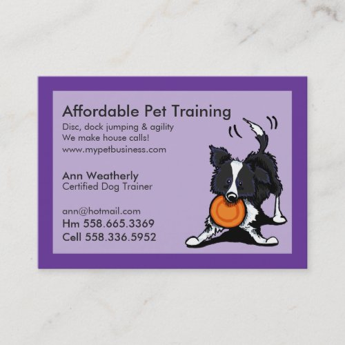 Dog Trainer Pet Training Border Collie Purple Business Card