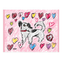 dog valentine postcard