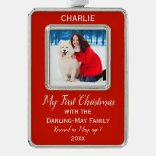 Dogs First Christmas Personalized Photo Keepsake Christmas Ornament