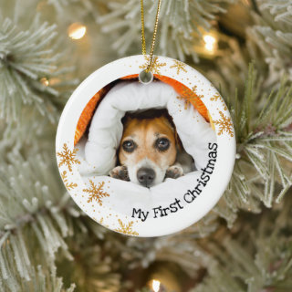 Dog's First Christmas White Gold Snowflakes Photo Ceramic Ornament