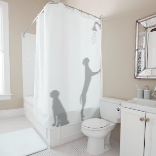 Dogs In Shower Behind Silhouette Shadow Funny Fun Shower Curtain