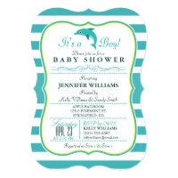 Dolphin, Elegant, Nautical Theme Baby Shower Card