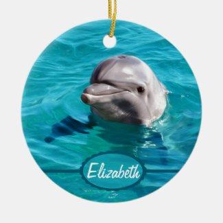 Dolphin in Blue Water Photo Ceramic Ornament