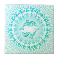 Dolphins Mandala Turquoise Green White Ceramic Tile