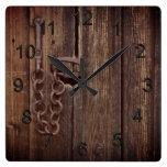 Door lock square wall clock