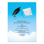 Double Graduation Hat Toss Vertical Invitation