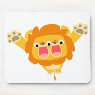Double Trouble cute cartoon lion T-shirt mousepad