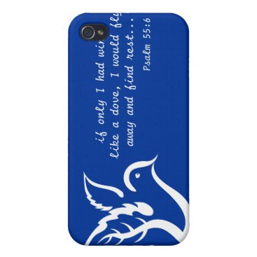 Dove with Olive Branch & Psalm 55:6 Quote iPhone 4 Cover