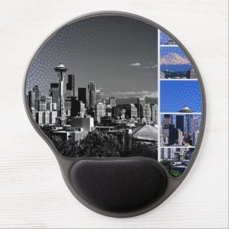 Downtown Seattle Blue Grey Collage Gel Mouse Pad