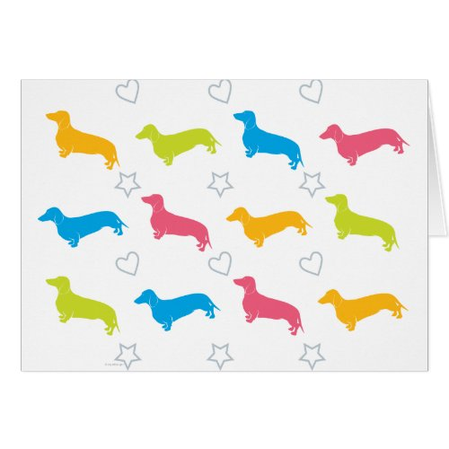 Doxie Colorful Hearts and Stars Greeting Card
