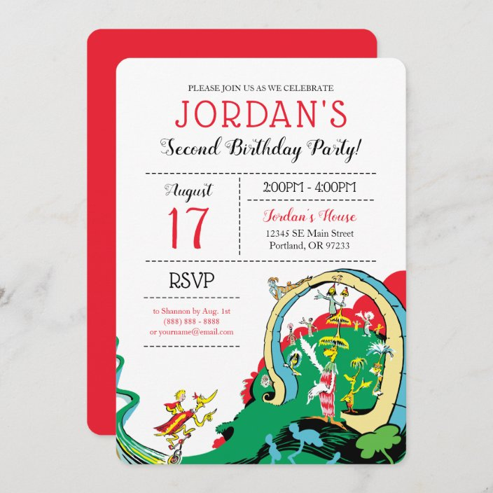 dr seuss happy birthday to you invitation zazzle com