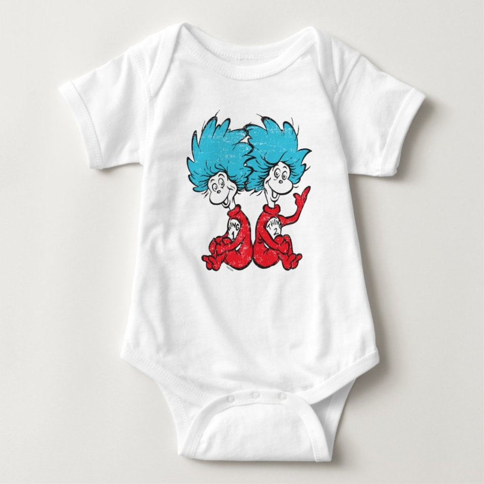 Dr. Seuss | The Cat in the Hat - Thing 1 and Thing 2 Baby Onesies - Baby Bodysuits