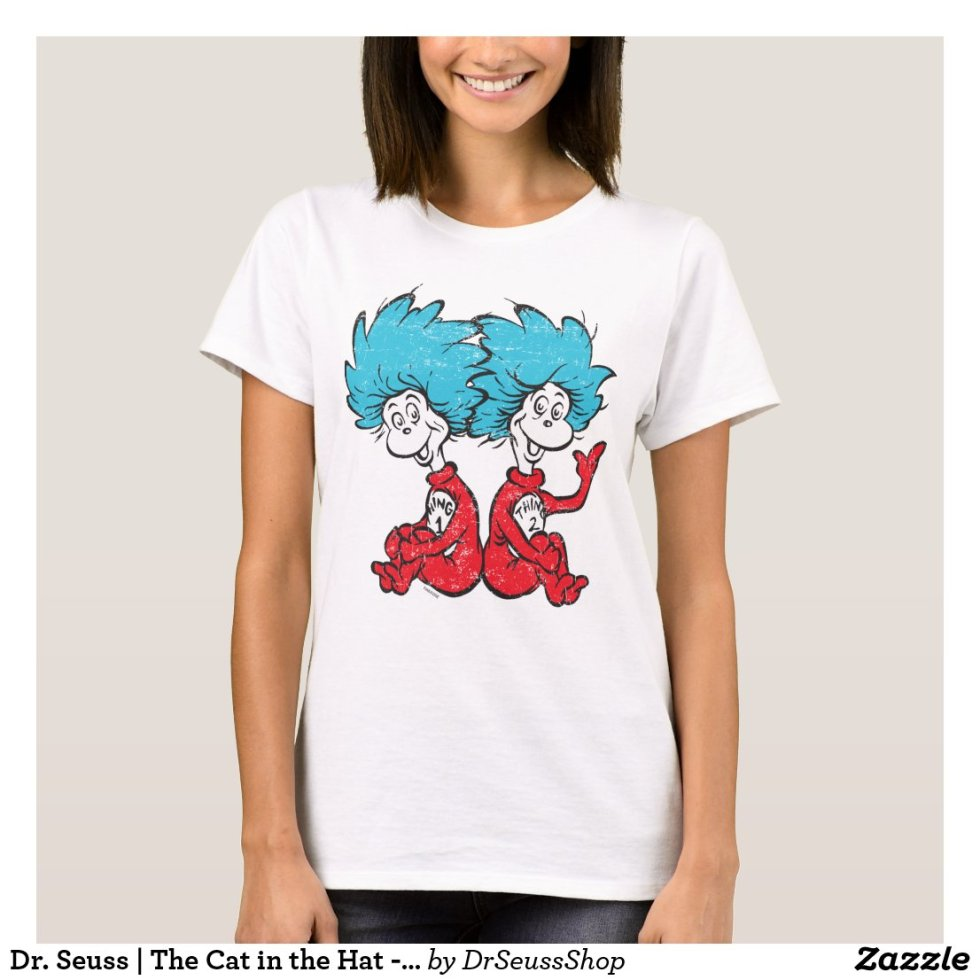 Dr. Seuss | The Cat in the Hat - Thing 1, Thing 2 Sitting T-Shirt