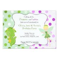 Dragon Fairy Purple Green Birthday Invite