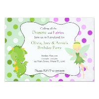 Dragon Fairy Purple Green Birthday Invite