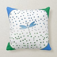 Dragonfly in green and blue throw pillow | Zazzle