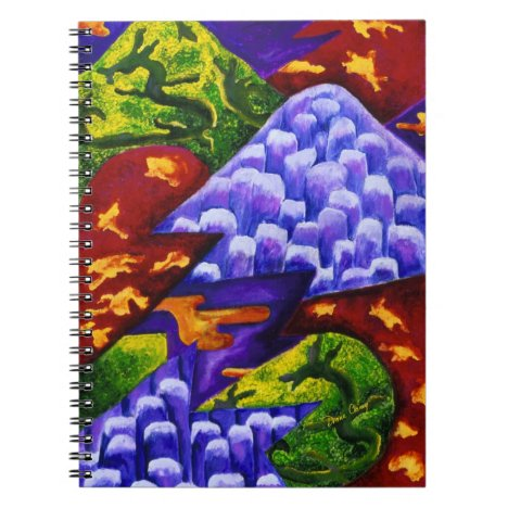 Dragonland, Abstract Green Dragons, Blue Mountains Notebook
