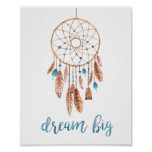 Dream Big Dreamcatcher Typography Quote in Blue Poster