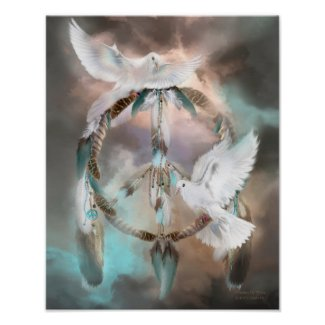 Dream Catcher - Dreams Of Peace Art Poster/Print