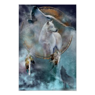 Dream Catcher Series-Spirit Wolf Poster/Print