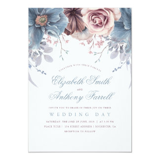 Dusty Blue And Mauve Watercolor Flowers Wedding Card