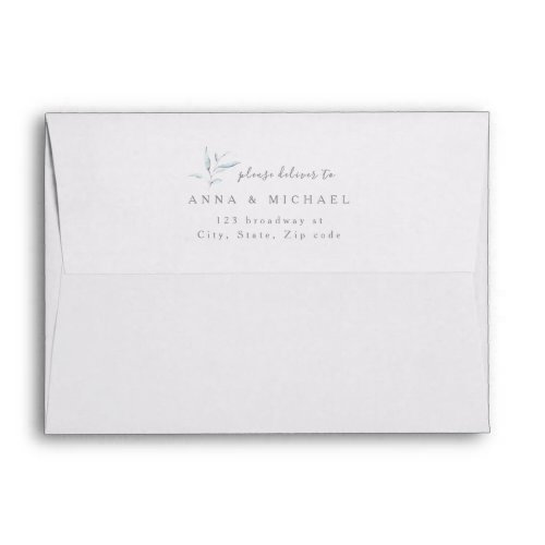 Dusty blue botanical greenery return address envelope