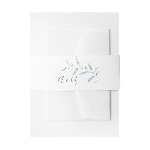 Dusty blue botanical greenery wedding monogram invitation belly band