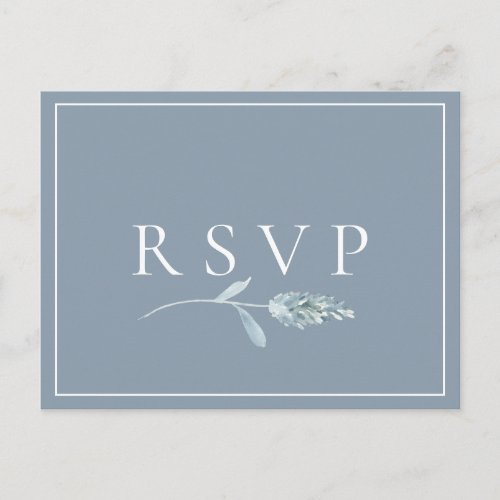 Dusty Blue Botanical Wedding RSVP Song Request Invitation Postcard