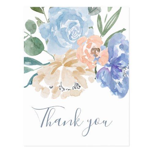 Dusty Blue Florals Thank You Postcard